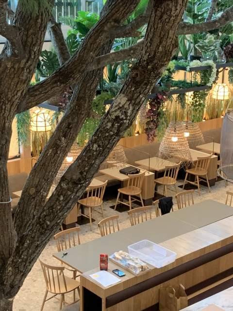 Ambiance champêtre dans ce restaurant : murs végétaux, luminaires natures, matériaux bruts, banquettes sur-mesure et douces couleurs.